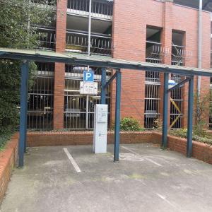 Motorradparkplätze in Lingen (Ems) hinter dem Parkhaus beim Rathaus